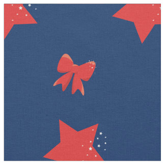 Red Stars & Red Bows Fabric