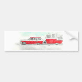 Red Stationwagon and Camper Bumper Sticker