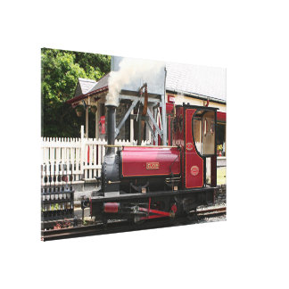 Red Steam train engine locomotive, Wales Canvas Print