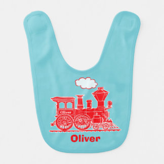 Red steam train graphic art baby bib