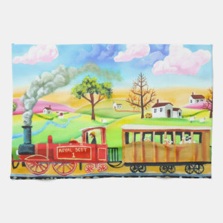 Red steam train naive folk art painting tea towel