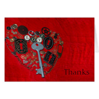 Red Steampunk Heart Wedding Thank You Cards