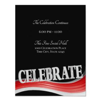 Red Steel Wave Celebration Reception Card