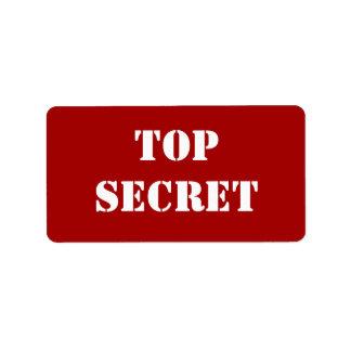 Red Stencil Top Secret Address Label