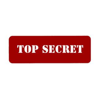 Red Stencil Top Secret Return Address Label