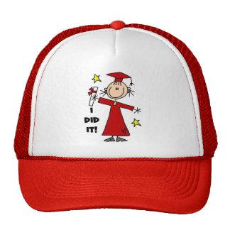 Red Stick Figure Girl Graduate Trucker Hat