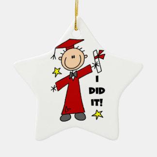 Red Stick Figure Male Graduate Ceramic Star Decoration