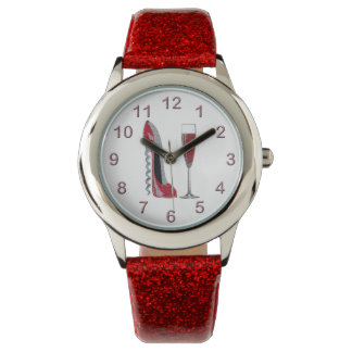 Red Stiletto and Champagne Watch