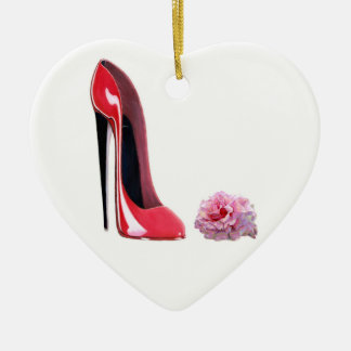 Red Stiletto and Rose Heart Ornament