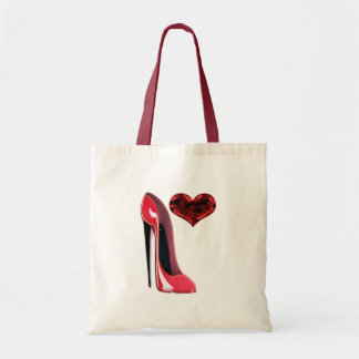 Red Stiletto Shoe and 3D Heart design Budget Tote Bag