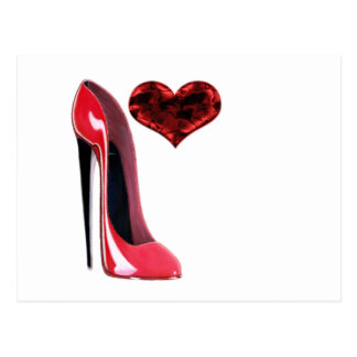Red Stiletto Shoe and 3D Heart Postcard