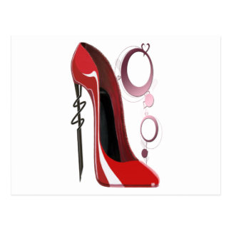 Red Stiletto Shoe and Bangles Art Postcard