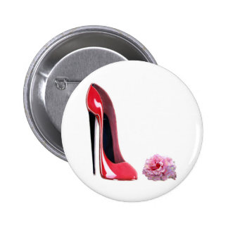 Red Stiletto Shoe and Rose Pinback Button