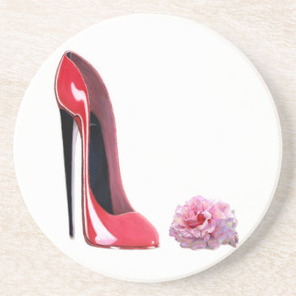 Red Stiletto Shoe and Rose Coaster