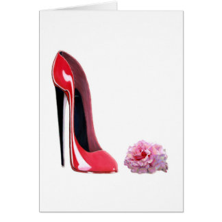 Red Stiletto Shoe and Rose Greeting Card