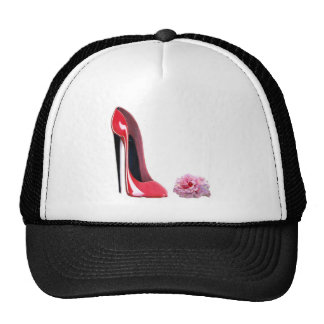 Red Stiletto Shoe and Rose Mesh Hat