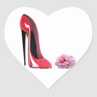 Red Stiletto Shoe and Rose Heart Sticker