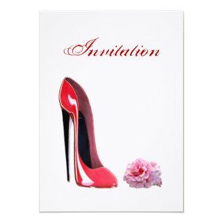 Red Stiletto Shoe and Rose Invitation