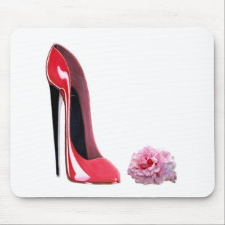 Red Stiletto Shoe and Rose Mouse Pad