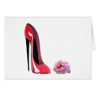 Red Stiletto Shoe and Rose Note Card