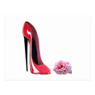 Red Stiletto Shoe and Rose Postcard
