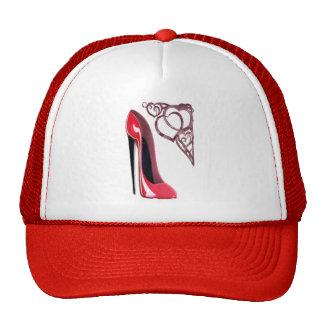 Red Stiletto Shoe and Swirl Hearts Cap