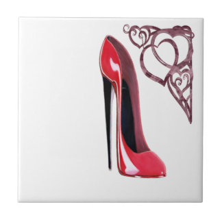 Red Stiletto Shoe and Swirl Hearts Small Square Tile