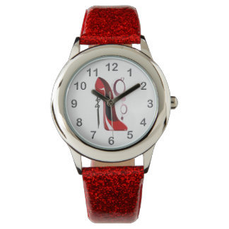 Red Stiletto Shoe Art and Bling Watch