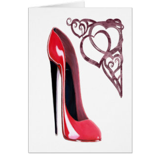Red Stiletto Shoe Art and Heart Swirls Greeting Card
