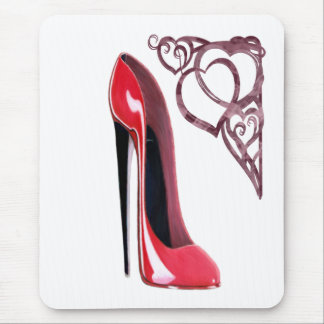 Red Stiletto Shoe Art and Heart Swirls Mouse Pad