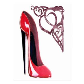 Red Stiletto Shoe Art and Heart Swirls Postcard