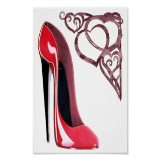 Red Stiletto Shoe Art and Heart Swirls Poster
