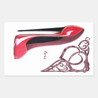 Red Stiletto Shoe Art and Heart Swirls Rectangular Sticker