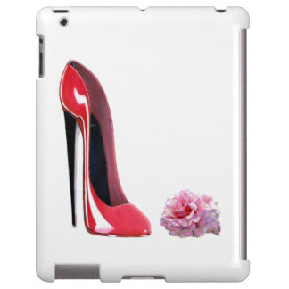 Red Stiletto Shoe Art and Rose iPad Case