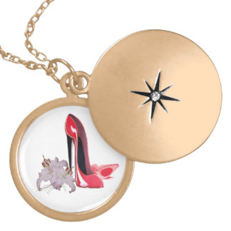 Red Stiletto Shoes and Lilies Art Gift Necklace