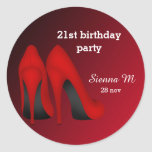 Red Stilettos birthday Round Stickers
