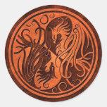 Red Stone Yin Yang Phoenix Round Stickers