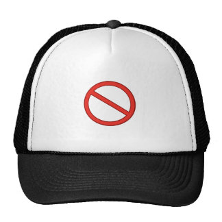 RED STOP SYMBOL WARNING GRAPHIC TRUCKER HAT