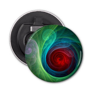 Red Storm Abstract Art Button
