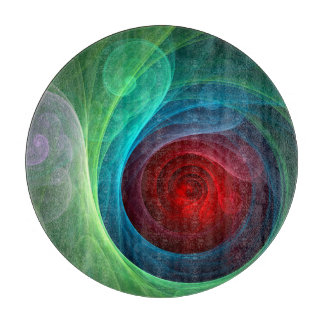 Red Storm Abstract Art Circle Cutting Board
