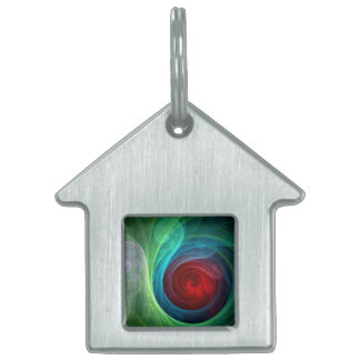 Red Storm Abstract Art House Pet Tag