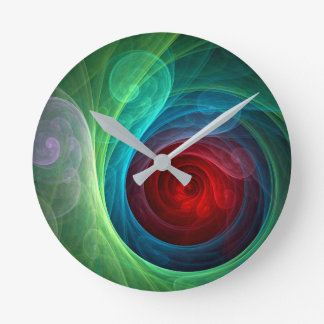 Red Storm Abstract Art Round Round Clock