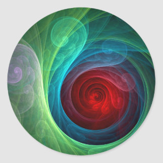 Red Storm Abstract Art Round Sticker