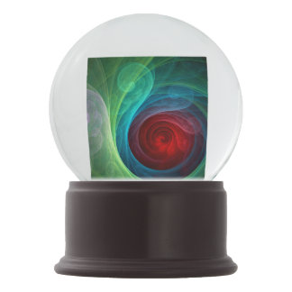 Red Storm Abstract Art Snow Globe