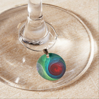 Red Storm Abstract Art Wine Charm