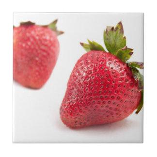 Red Strawberries Ceramic Tile