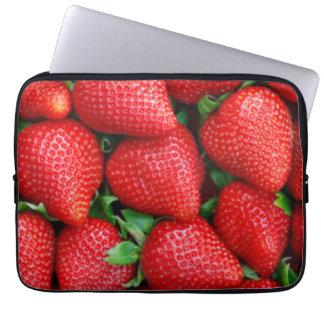 Red Strawberries Pattern Design Laptop Sleeve