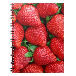Red Strawberries Pattern Design Notebooks