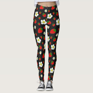 Red Strawberry Dots in Black Leggings