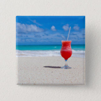 Red Strawberry Drink on the Sandy Beach 15 Cm Square Badge